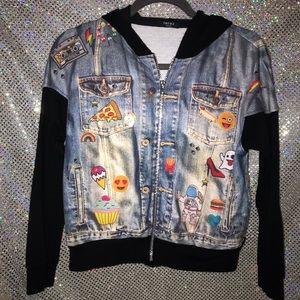 Terez Emoji Denim Look Hoodie Girls size M
